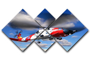 helicopter coast guard 4 Square Multi Panel Canvas  - Canvas Art Rocks - 1