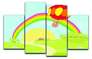 hot air balloon 4 Split Panel Canvas  - Canvas Art Rocks - 1