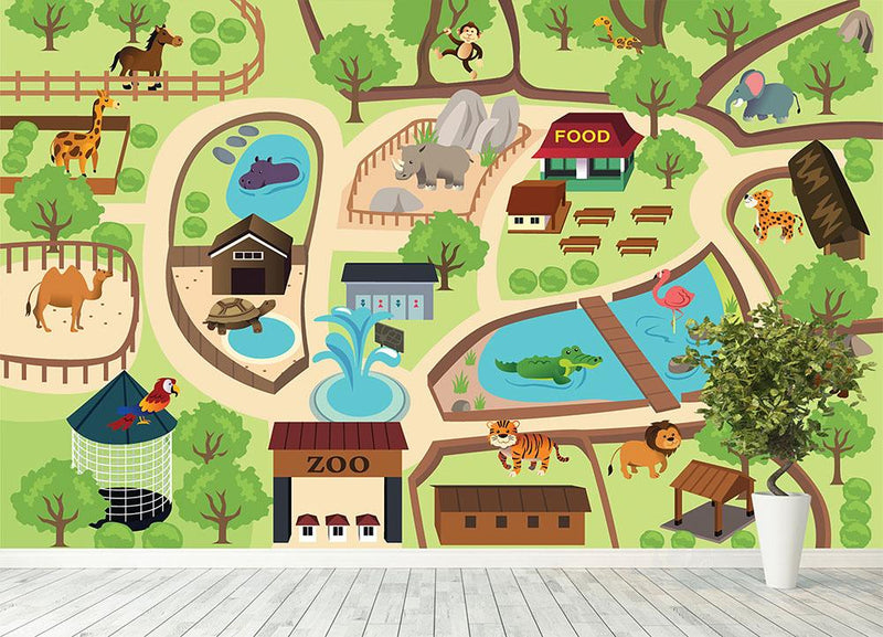 illustration of map of a zoo park Wall Mural Wallpaper - Canvas Art Rocks - 4