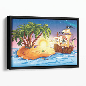 island with a pirate ship Floating Framed Canvas