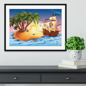 island with a pirate ship Framed Print - Canvas Art Rocks - 1
