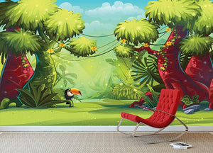 jungle with bird toucan Wall Mural Wallpaper - Canvas Art Rocks - 3