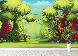 jungle with bird toucan Wall Mural Wallpaper - Canvas Art Rocks - 4