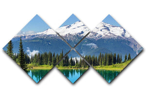 lake and Glacier Peak 4 Square Multi Panel Canvas  - Canvas Art Rocks - 1