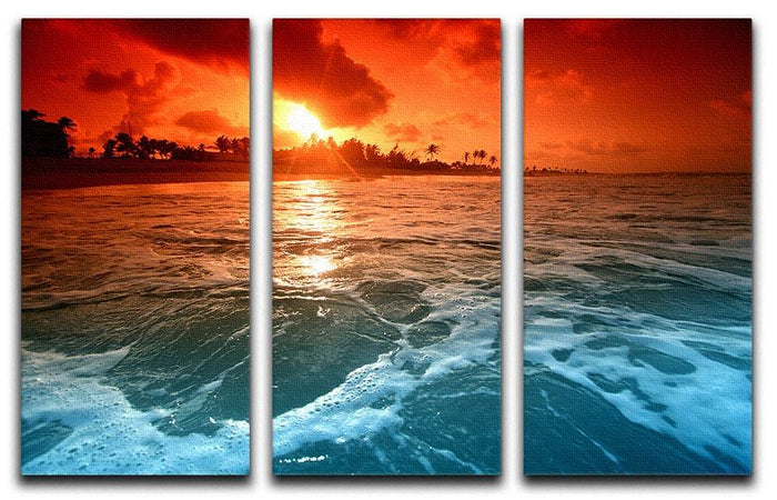 landscape ocean sunrice 3 Split Panel Canvas Print