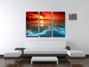 landscape ocean sunrice 3 Split Panel Canvas Print - Canvas Art Rocks - 3