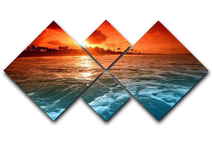landscape ocean sunrice 4 Square Multi Panel Canvas