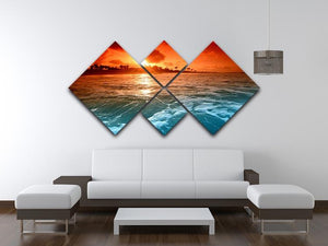 landscape ocean sunrice 4 Square Multi Panel Canvas  - Canvas Art Rocks - 3