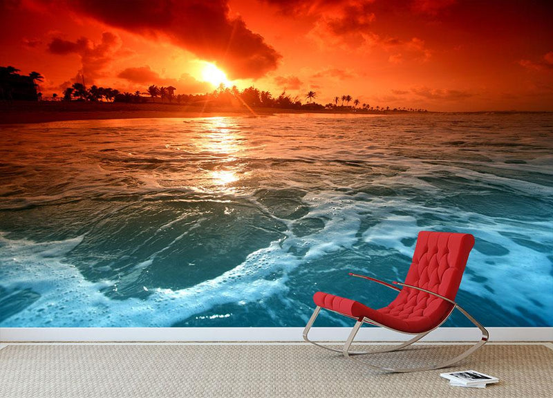landscape ocean sunrice Wall Mural Wallpaper - Canvas Art Rocks - 1
