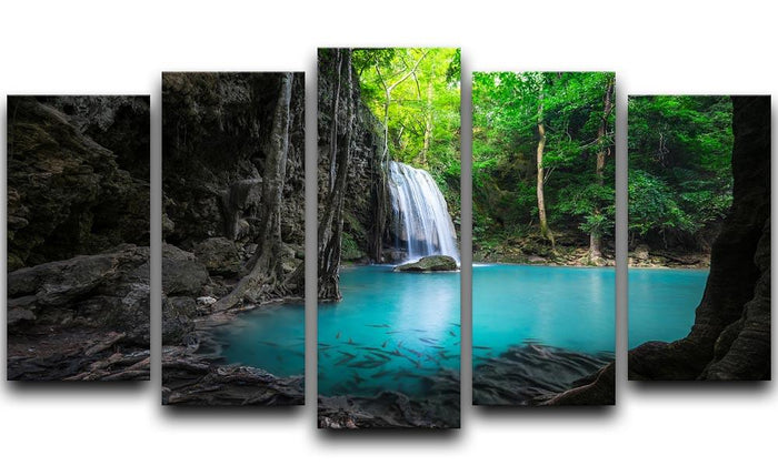 lowing turquoise water of Erawan cascade 5 Split Panel Canvas