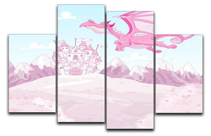 magic dragon on princess castle 4 Split Panel Canvas  - Canvas Art Rocks - 1