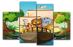 many animals on a boat 4 Split Panel Canvas  - Canvas Art Rocks - 1