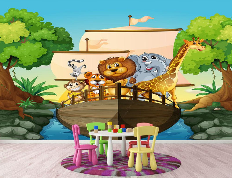 many animals on a boat Wall Mural Wallpaper - Canvas Art Rocks - 1