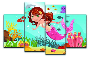 mermaid swimming underwater in the ocean 4 Split Panel Canvas  - Canvas Art Rocks - 1