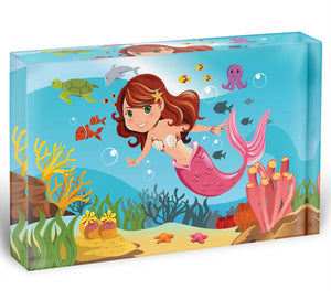 mermaid swimming underwater in the ocean Acrylic Block - Canvas Art Rocks - 1