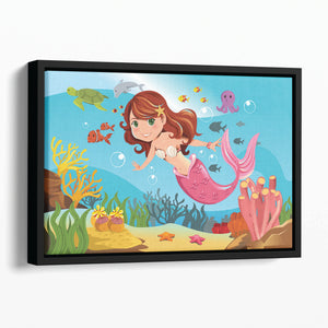 mermaid swimming underwater in the ocean Floating Framed Canvas