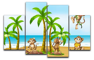 monkeys on the beach 4 Split Panel Canvas  - Canvas Art Rocks - 1