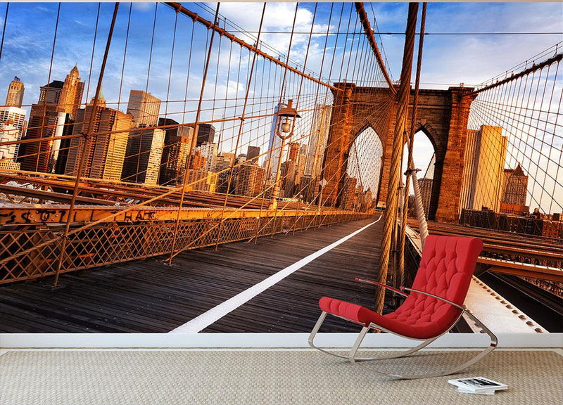 morning on the famous Brooklyn Bridge Wall Mural Wallpaper - Canvas Art Rocks - 1