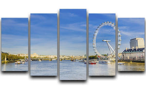 morning with London eye millennium wheel 5 Split Panel Canvas  - Canvas Art Rocks - 1