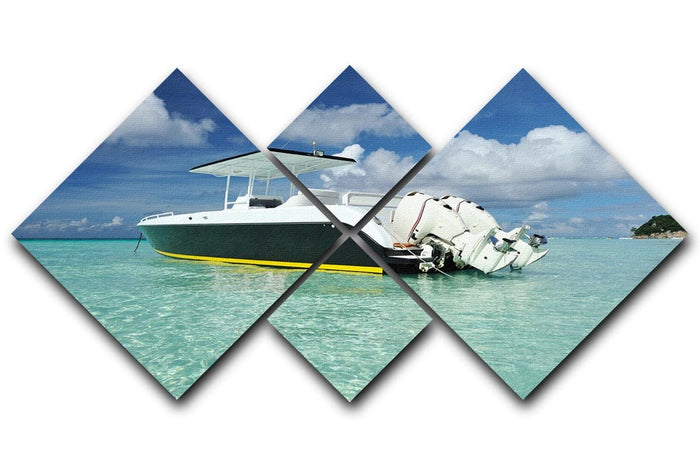 motor boat at Boracay island 4 Square Multi Panel Canvas