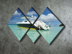 motor boat at Boracay island 4 Square Multi Panel Canvas  - Canvas Art Rocks - 2