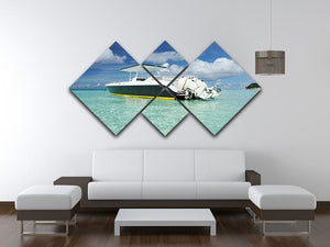 motor boat at Boracay island 4 Square Multi Panel Canvas  - Canvas Art Rocks - 3
