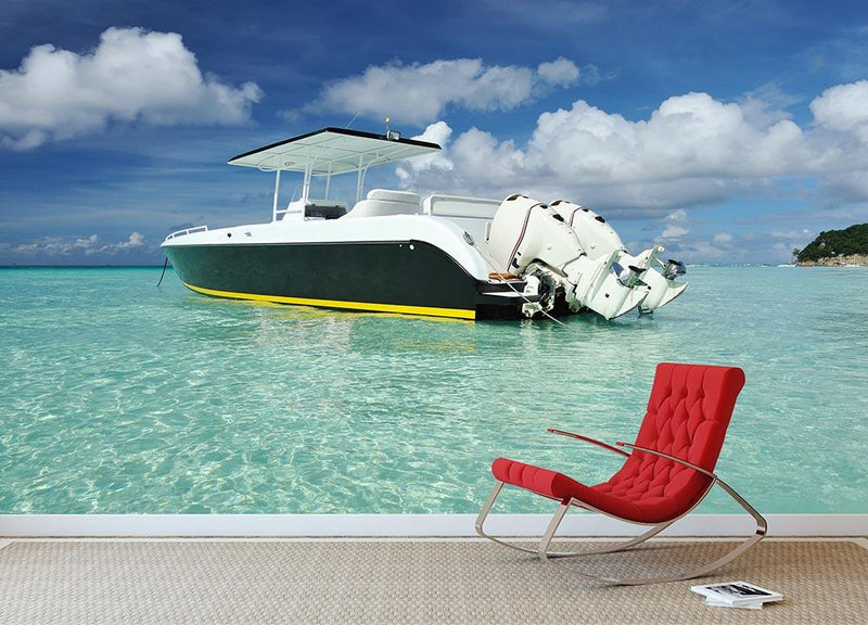 motor boat at Boracay island Wall Mural Wallpaper - Canvas Art Rocks - 1