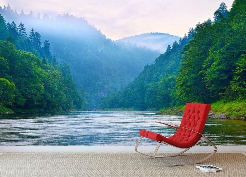 mountain river in the morning Dunajec Wall Mural Wallpaper - Canvas Art Rocks - 1
