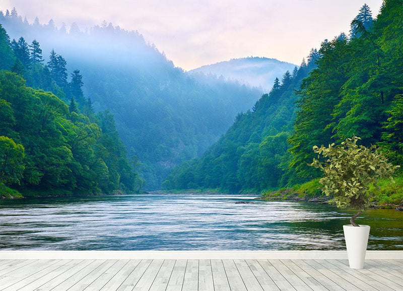 mountain river in the morning Dunajec Wall Mural Wallpaper - Canvas Art Rocks - 4