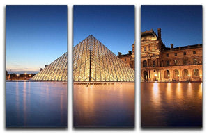 night scene of the Louvre Museum 3 Split Panel Canvas Print - Canvas Art Rocks - 1