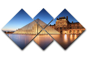 night scene of the Louvre Museum 4 Square Multi Panel Canvas  - Canvas Art Rocks - 1
