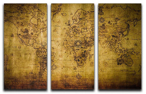old map 3 Split Panel Canvas Print - Canvas Art Rocks - 1