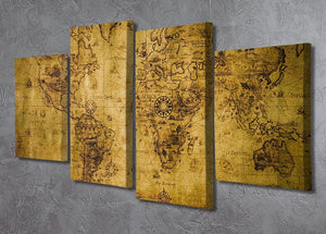 old map 4 Split Panel Canvas  - Canvas Art Rocks - 2