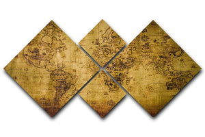 old map 4 Square Multi Panel Canvas  - Canvas Art Rocks - 1
