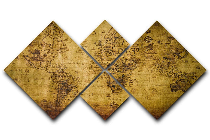 old map 4 Square Multi Panel Canvas