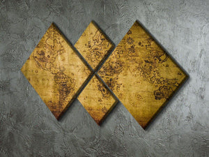 old map 4 Square Multi Panel Canvas  - Canvas Art Rocks - 2