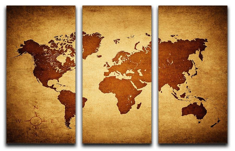 old map of the world 3 Split Panel Canvas Print | Canvas Art Rocks