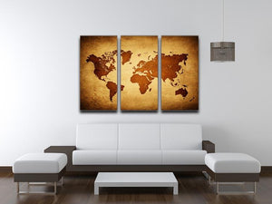 old map of the world 3 Split Panel Canvas Print - Canvas Art Rocks - 3