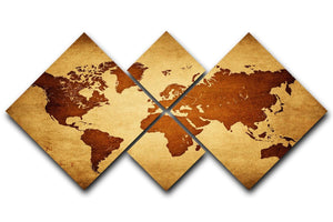 old map of the world 4 Square Multi Panel Canvas  - Canvas Art Rocks - 1