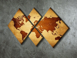 old map of the world 4 Square Multi Panel Canvas  - Canvas Art Rocks - 2