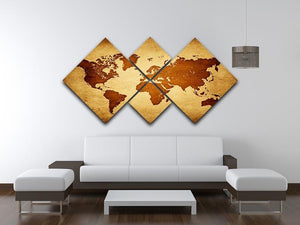 old map of the world 4 Square Multi Panel Canvas  - Canvas Art Rocks - 3