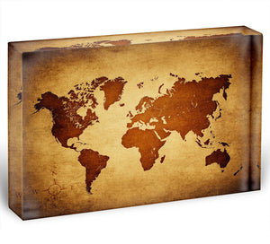 old map of the world Acrylic Block - Canvas Art Rocks - 1