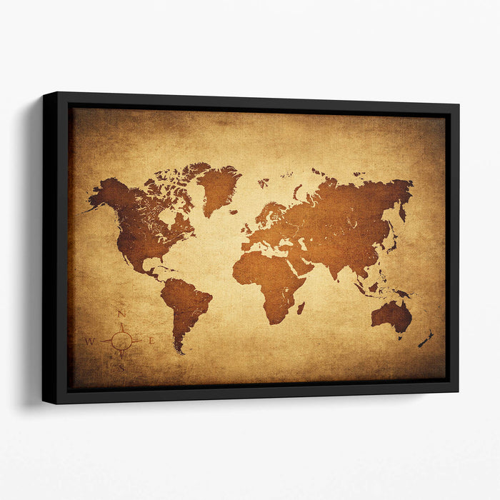 old map of the world Floating Framed Canvas