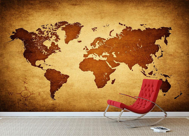 old map of the world Wall Mural Wallpaper - Canvas Art Rocks - 1