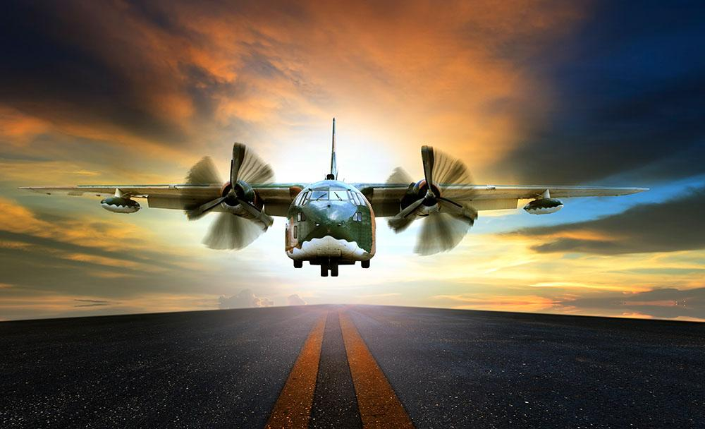 Old Military Container Plane Wall Mural Wallpaper