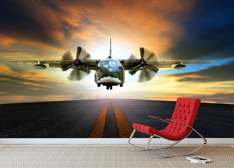 old military container plane Wall Mural Wallpaper - Canvas Art Rocks - 1
