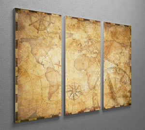old nautical treasure map illustration 3 Split Panel Canvas Print - Canvas Art Rocks - 2