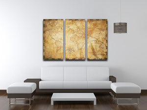 old nautical treasure map illustration 3 Split Panel Canvas Print - Canvas Art Rocks - 3