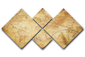 old nautical treasure map illustration 4 Square Multi Panel Canvas  - Canvas Art Rocks - 1