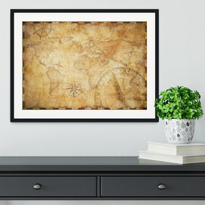 old nautical treasure map illustration Framed Print - Canvas Art Rocks - 1